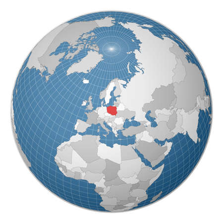 Globe centered to Poland. Country highlighted with green color on world map. Satellite world projection. Modern vector illustration. Vektoros illusztráció
