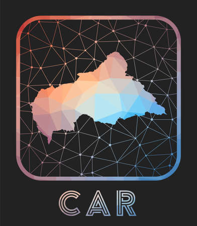 CAR map design. Vector low poly map of the country. CAR icon in geometric style. The country shape with polygnal gradient and mesh on dark background. Çizim