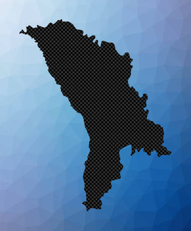 Moldova geometric map. Stencil shape of Moldova in low poly style. Powerful country vector illustration.