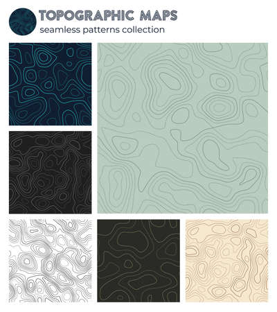 Topographic maps. Astonishing isoline patterns, seamless design. Attractive tileable background. Vector illustration.