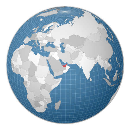 Globe centered to UAE. Country highlighted with green color on world map. Satellite world projection. Attractive vector illustration. 일러스트