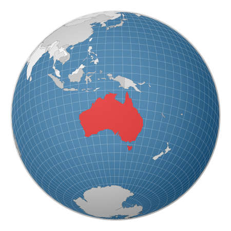 Globe centered to Australia. Country highlighted with green color on world map. Satellite world projection. Captivating vector illustration.