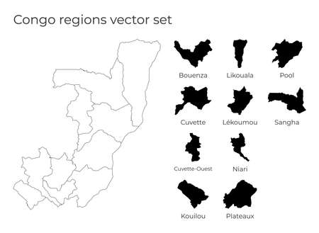 Congo map with shapes of regions. Blank vector map of the Country with regions. Borders of the country for your infographic. Vector illustration.