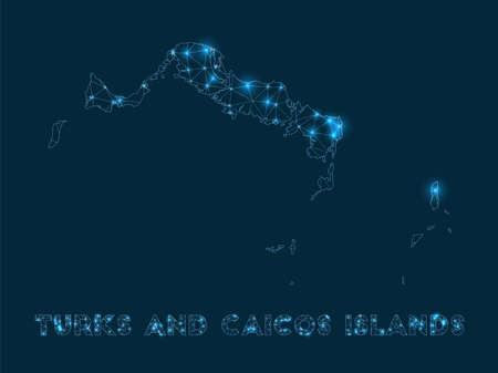 Turks and Caicos Islands network map. Abstract geometric map of the island. Internet connections and telecommunication design. Cool vector illustration.