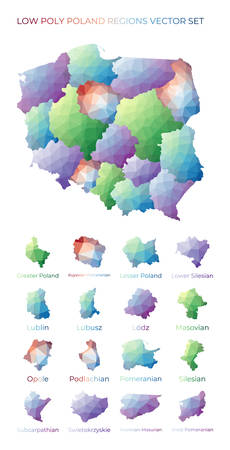 Polish low poly regions. Polygonal map of Poland with regions. Geometric maps for your design. Appealing vector illustration.