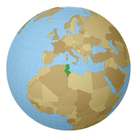 Globe centered to Tunisia. Country highlighted with green color on world map. Satellite projection view. Vector illustration.