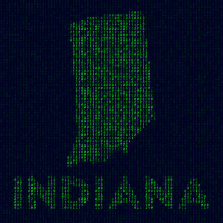 Digital Indiana logo. US state symbol in hacker style. Binary code map of Indiana with US state name. Powerful vector illustration.