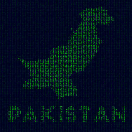 Country symbol in hacker style. Binary code map of Pakistan with country name. Powerful vector illustration.