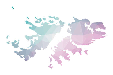 Polygonal map of Falklands. Geometric illustration of the country in emerald amethyst colors. Falklands map in low poly style. Technology, internet, network concept. Vector illustration. Vetores
