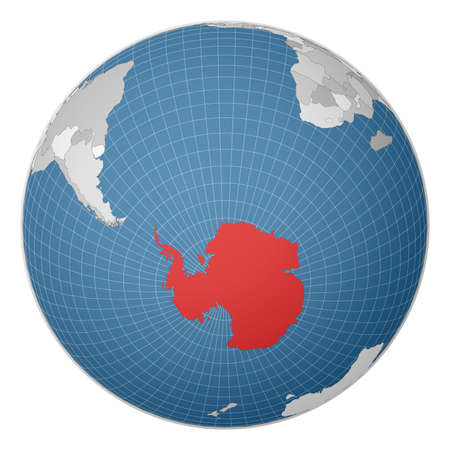 Globe centered to Antarctica. Country highlighted with green color on world map. Satellite world projection. Beautiful vector illustration. Illusztráció