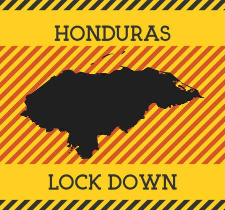 Honduras Lock Down Sign. Yellow country pandemic danger icon. Vector illustration.
