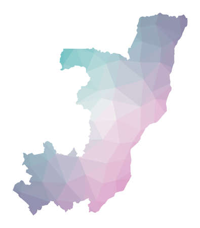 Polygonal map of Congo. Geometric illustration of the country in emerald amethyst colors. Congo map in low poly style. Technology, internet, network concept. Vector illustration.