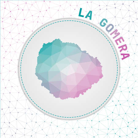 Vector polygonal La Gomera map. Map of the island with network mesh background. La Gomera illustration in technology, internet, network, telecommunication concept style . Stylish vector illustration. 矢量图像