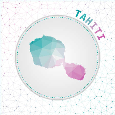 Vector polygonal Tahiti map. Map of the island with network mesh background. Tahiti illustration in technology, internet, network, telecommunication concept style . Charming vector illustration. 向量圖像