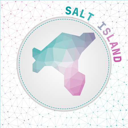 Vector polygonal Salt Island map. Map of the island with network mesh background. Salt Island illustration in technology, internet, network, telecommunication concept style.