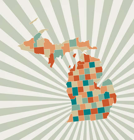 Michigan map. Poster with map of the us state in retro color palette. Shape of Michigan with sunburst rays background. Vector illustration.
