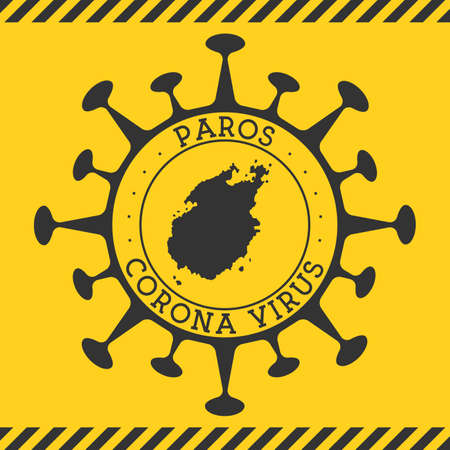 Corona virus in Paros sign. Round badge with shape of virus and Paros map. Yellow island epidemy lock down stamp. Vector illustration.