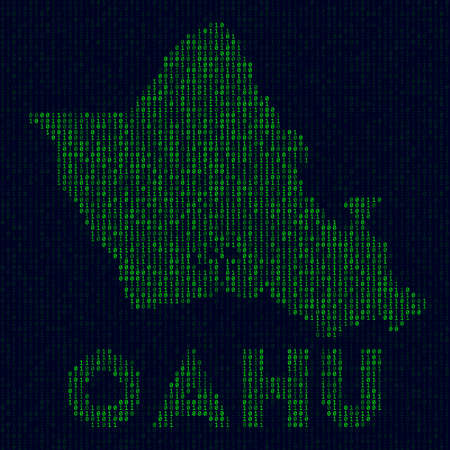Digital Oahu logo. Island symbol in hacker style. Binary code map of Oahu with island name. Awesome vector illustration. 矢量图像