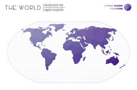 World map in polygonal style. Wagner VI projection of the world. Purple Shades colored polygons. Modern vector illustration.