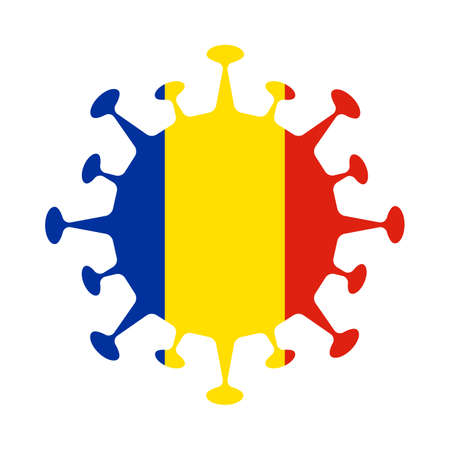 Flag of Romania in virus shape. Country sign. Vector illustration.