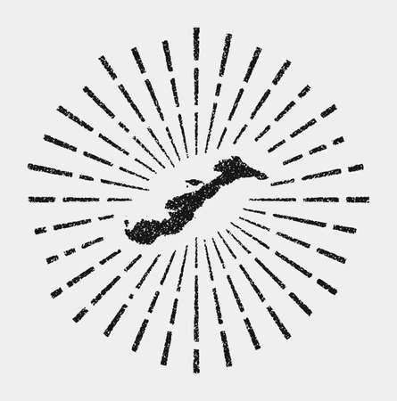 Vintage map of Amorgos. Grunge sunburst around the island. Black Amorgos shape with sun rays on white background. Vector illustration.
