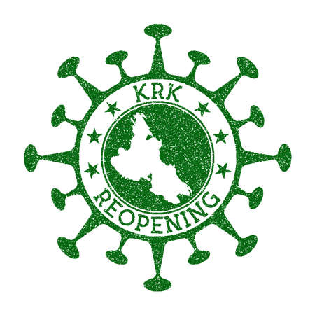 Krk Reopening Stamp. Green round badge of island with map of Krk. Island opening after lockdown. Vector illustration.