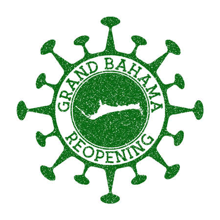 Grand Bahama Reopening Stamp. Green round badge of island with map of Grand Bahama. Island opening after lockdown. Vector illustration.