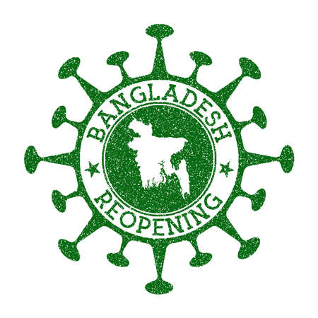 Bangladesh Reopening Stamp. Green round badge of country with map of Bangladesh. Country opening after lockdown. Vector illustration.