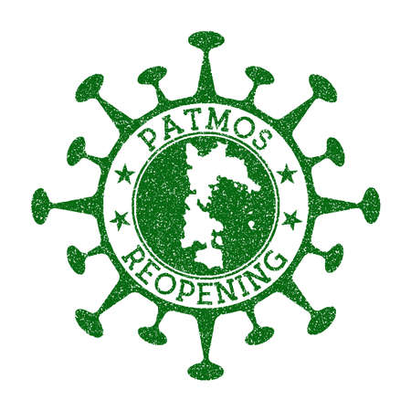 Patmos Reopening Stamp. Green round badge of island with map of Patmos. Island opening after lockdown. Vector illustration.