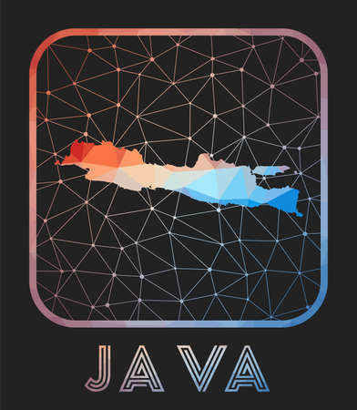 Java map design. Vector low poly map of the island. Java icon in geometric style. The island shape with polygnal gradient and mesh on dark background. Vetores