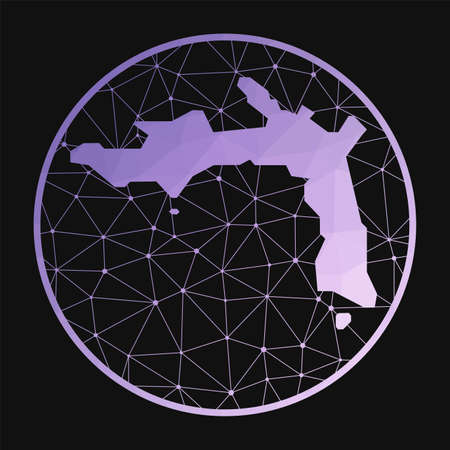 Peter Island icon. Vector polygonal map of the island. Peter Island icon in geometric style. The island map with purple low poly gradient on dark background.