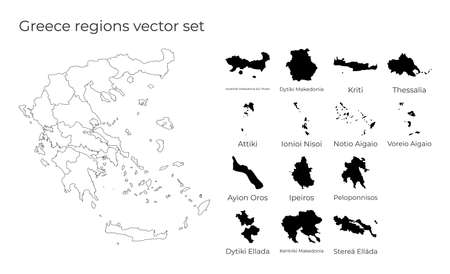 Greece map with shapes of regions. Blank vector map of the Country with regions. Borders of the country for your infographic. Vector illustration.