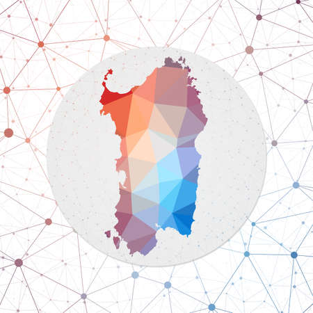 Abstract vector map of Sardinia. Technology in the island geometric style poster. Polygonal Sardinia map on 3d triangular mesh