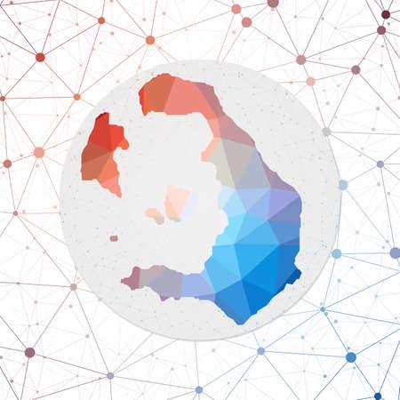 Abstract vector map of Santorini. Technology in the island geometric style poster. Polygonal Santorini map on 3d triangular mesh Vettoriali