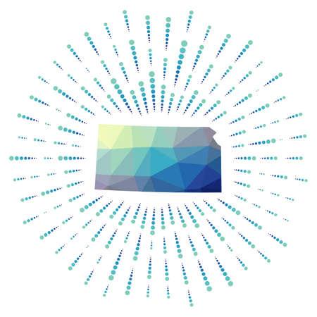 Shape of Kansas, polygonal sunburst. Map of the us state with colorful star rays. Kansas illustration in digital, technology, internet, network style. Vector illustration. Ilustracja