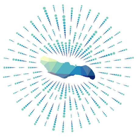 Shape of Saona Island, polygonal sunburst. Map of the island with colorful star rays. Saona Island illustration in digital, technology, internet, network style. Vector illustration.