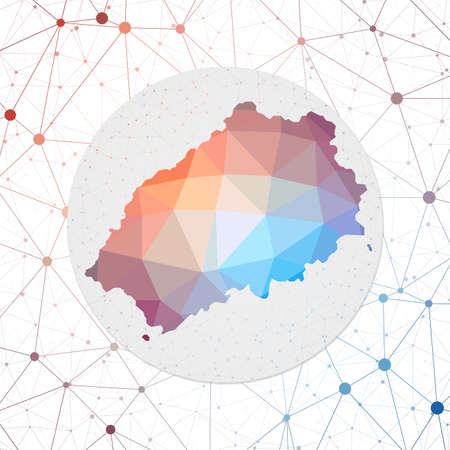 Abstract vector map of Saint Helena. Technology in the island geometric style poster. Polygonal Saint Helena map on 3d triangular mesh backgound. EPS10 Vector.