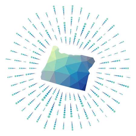 Shape of Oregon, polygonal sunburst. Map of the us state with colorful star rays. Oregon illustration in digital, technology, internet, network style. Vector illustration. Ilustracja