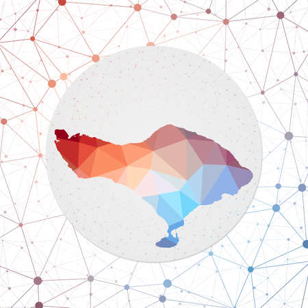 Abstract vector map of Bali. Technology in the island geometric style poster. Polygonal Bali map on 3d triangular mesh backgound. EPS10 Vector.