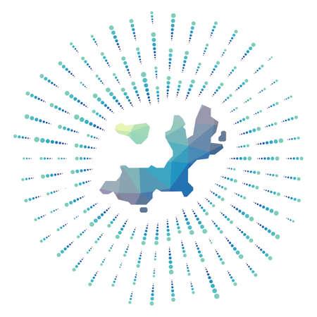 Shape of Terre-de-Haut Island, polygonal sunburst. Map of the island with colorful star rays. Terre-de-Haut Island illustration in digital, technology, internet, network style. Vector illustration.