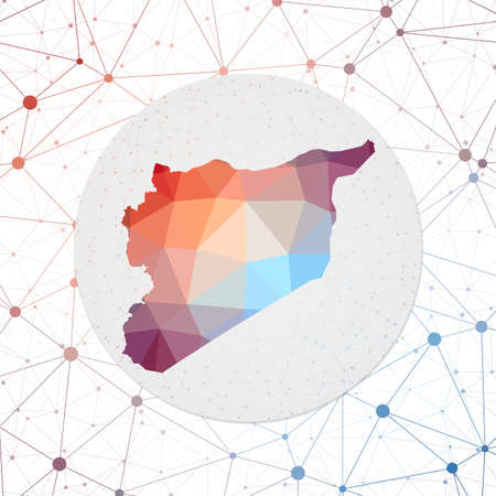 Abstract vector map of Syria. Technology in the country geometric style poster. Polygonal Syria map on 3d triangular mesh backgound. EPS10 Vector. Vectores