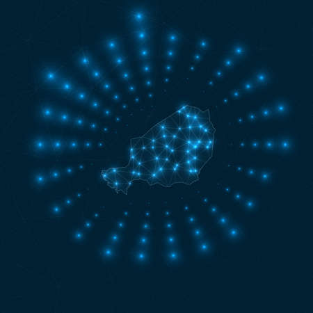 Niger digital map. Glowing rays radiating from the country. Network connections and telecommunication design. Vector illustration. Ilustracja