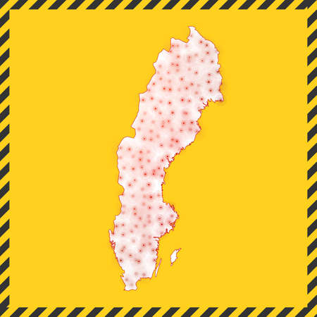 Sweden closed - virus danger sign. Lock down country icon. Black striped border around map with virus spread concept. Vector illustration.