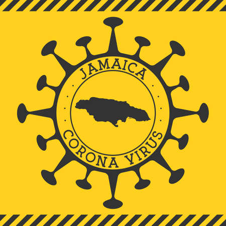 Corona virus in Jamaica sign. Round badge with shape of virus and Jamaica map. Yellow country epidemy lock down stamp. Vector illustration.