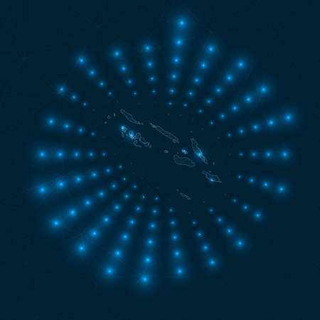 Solomon Islands digital map. Glowing rays radiating from the country. Network connections and telecommunication design. Vector illustration.