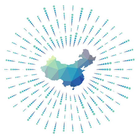 Shape of China, polygonal sunburst. Map of the country with colorful star rays. China illustration in digital, technology, internet, network style. Vector illustration.