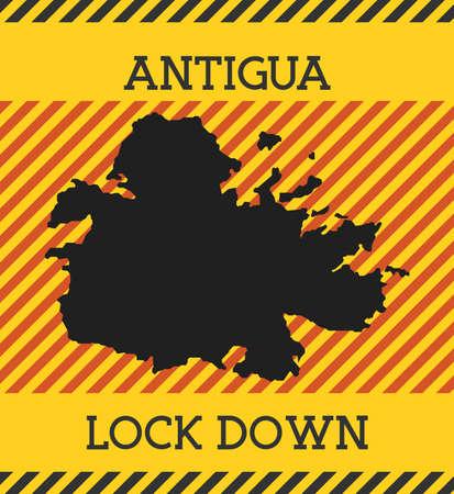 Antigua Lock Down Sign. Yellow island pandemic danger icon. Vector illustration.