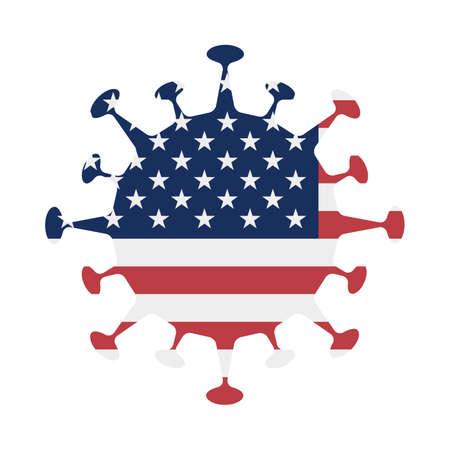 Flag of USA in virus shape. Country sign. Vector illustration. Ilustracja