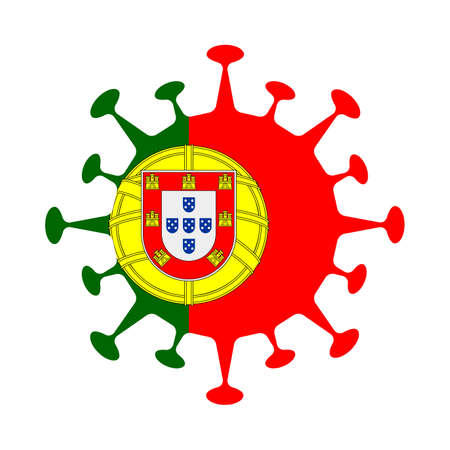 Flag of Portugal in virus shape. Country sign. Vector illustration.
