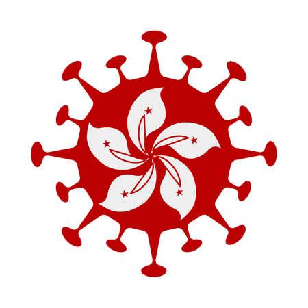 Flag of Hong Kong in virus shape. Country sign. Vector illustration. Ilustracja